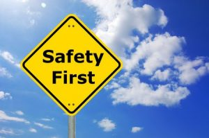 5952369 - safety first sign and copyspace for text message