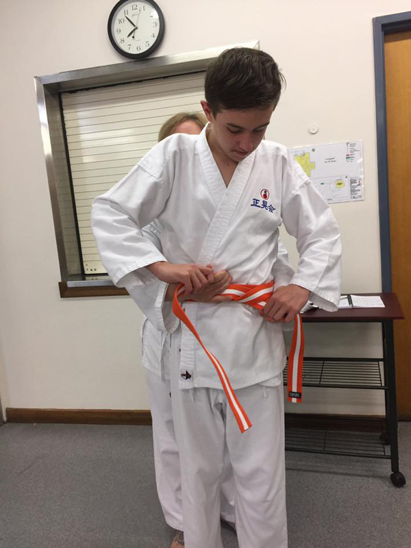 Karate grading and a new belt