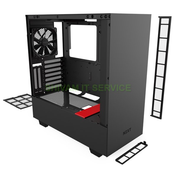 nzxt h510i gaming case black red 5
