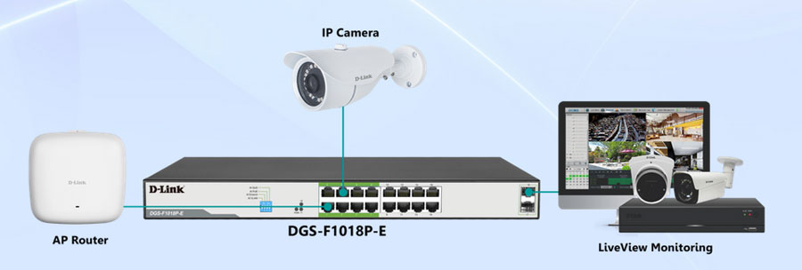 Dlink DGS-F1018P-E 16 Port POE Switch