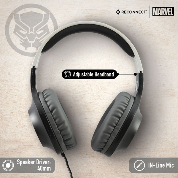 reconnect 101 marvel black panther wired headphone 2
