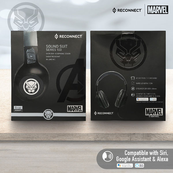 reconnect 101 marvel black panther wired headphone 5