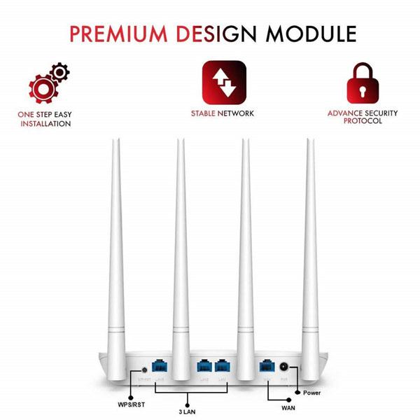 Tenda F6 V4.0 Wireless N300, 4X5dBi Antennas, Easy Setup Router