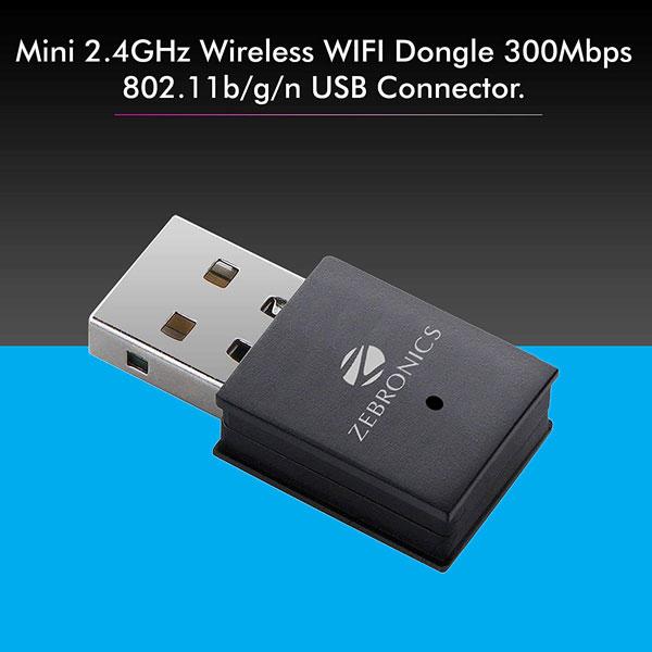Zebronics Zeb-USB300WF, 300Mbps WiFi USB Adapter