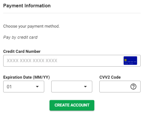 Fill up Payment Information