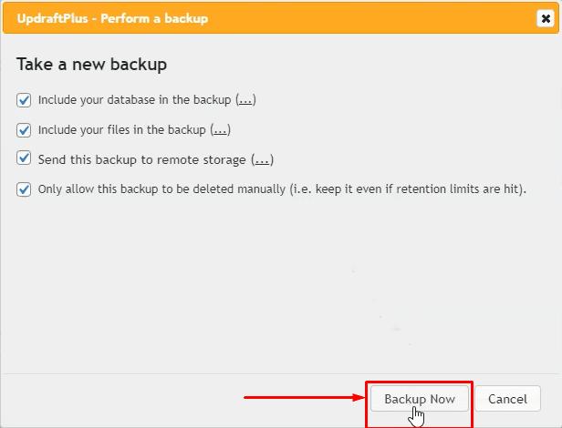 Backup your WordPress Website