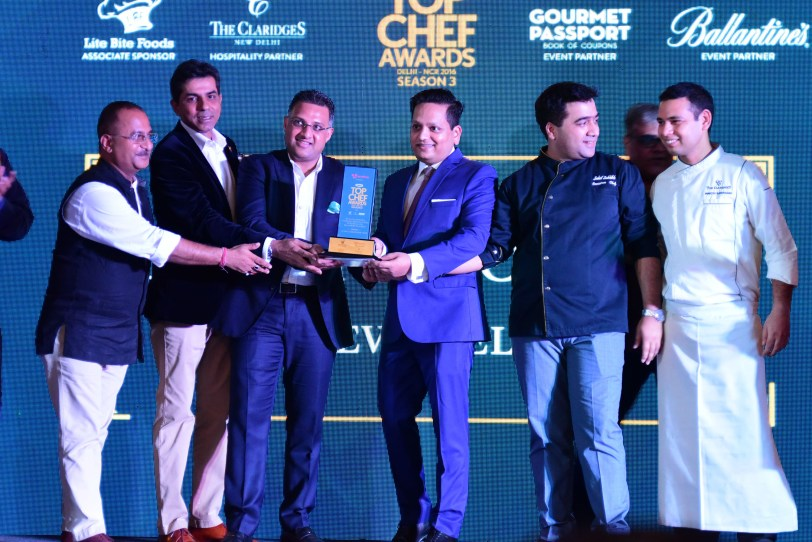 The Dhaba at The Claridges receives  the Excellence Award for completing 30 years-Chef Ravi Sexena, Mr. Atul Lall,  Manik Kapoor, Pawan Padeliya, Chef Sahil Sabhlok