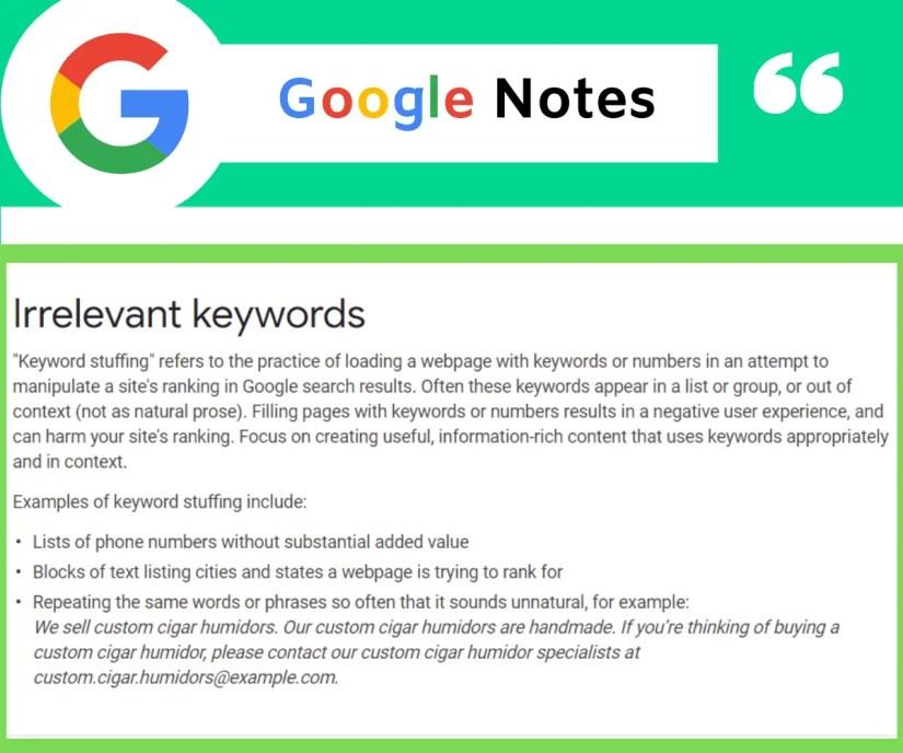 Google describing irrelevant keywords.