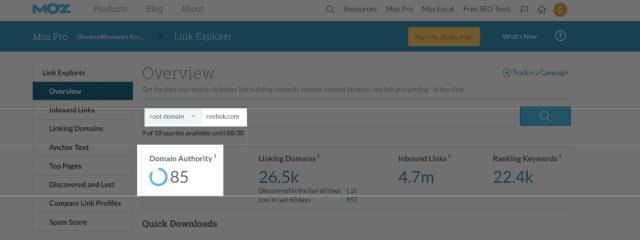 Moz showing reports on domain authority.