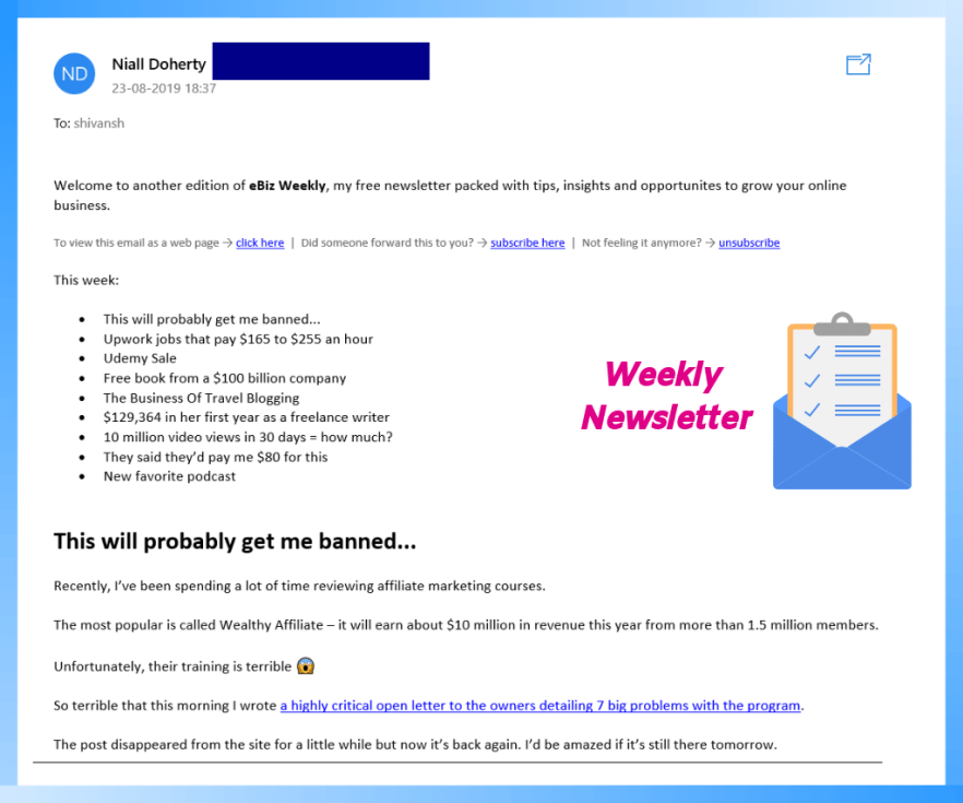 Example of a non-commercial email.