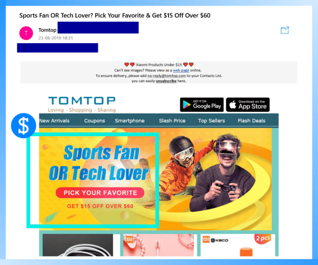 Example of a commercial email.