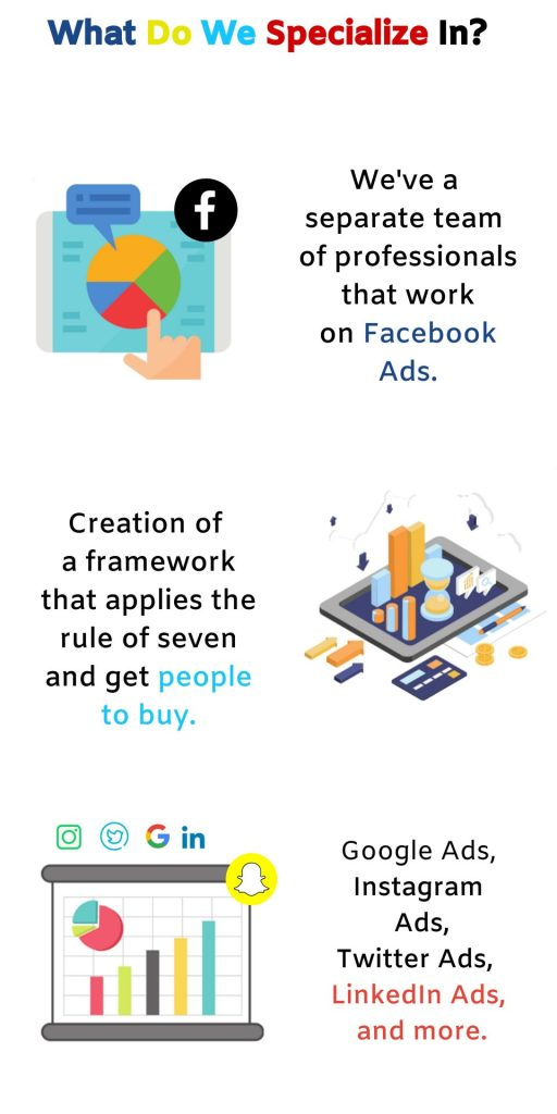 We provide services related to Facebook Ads, Google Ads, Bing Ads, Snapchat Ads, Twitter Ads, and more.