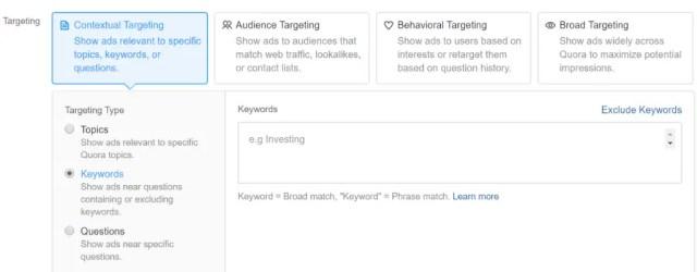 Targeting capability of Quora.