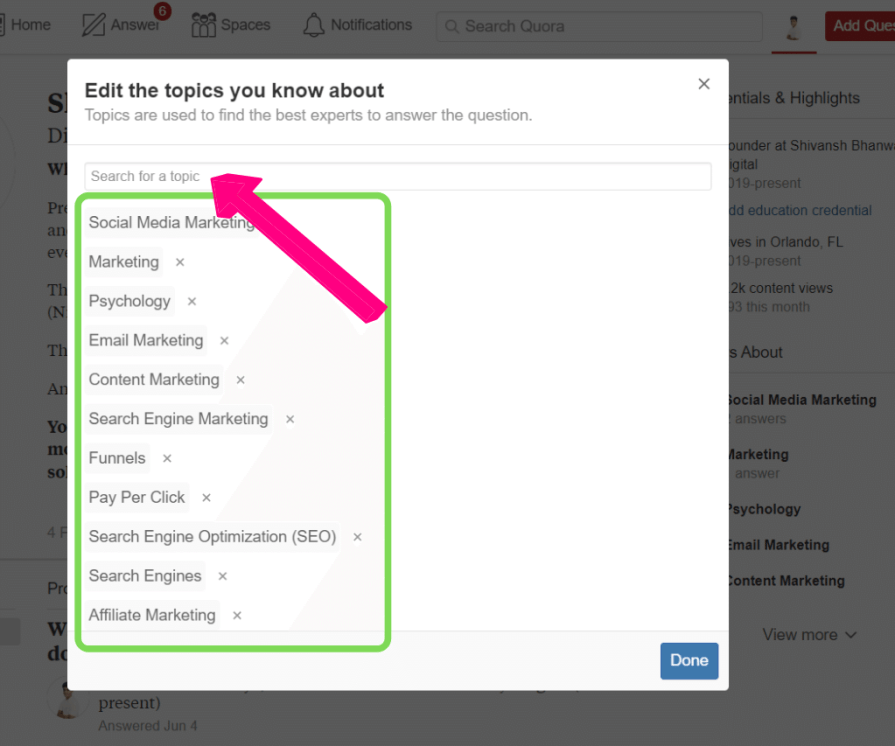 Adding topics to your profile.