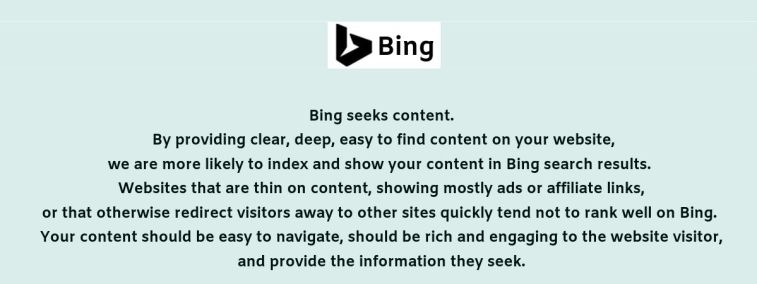 Bing's guidelines about content.