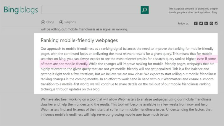 Bing is right now not focusing on Mobile Friendliness.