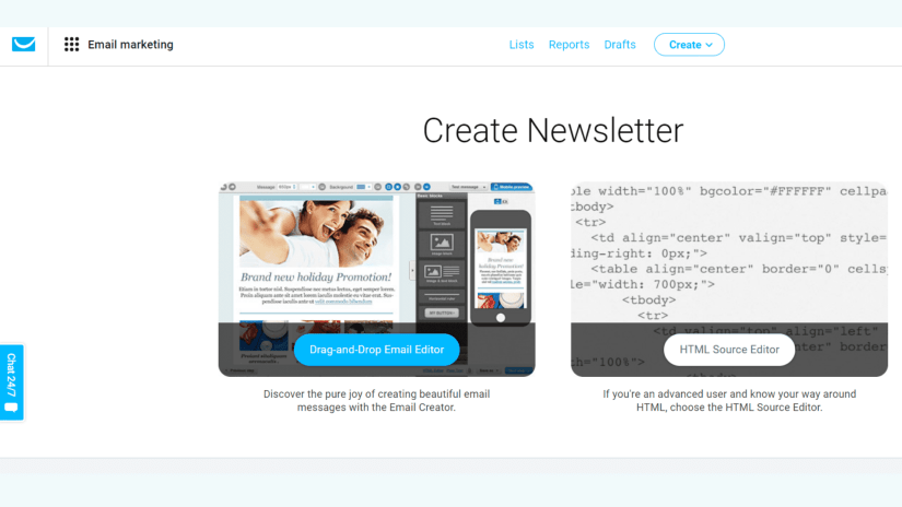 You can create amazing newsletters for you marketing campaigns with the editors.