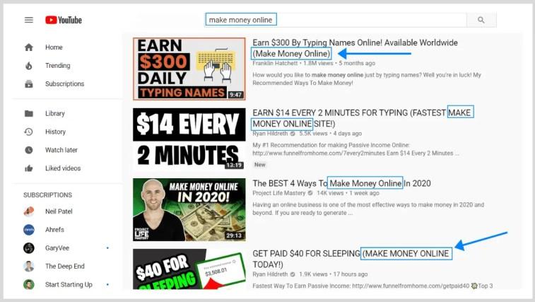 Clasifique sus videos de YouTube: palabras clave en el título.