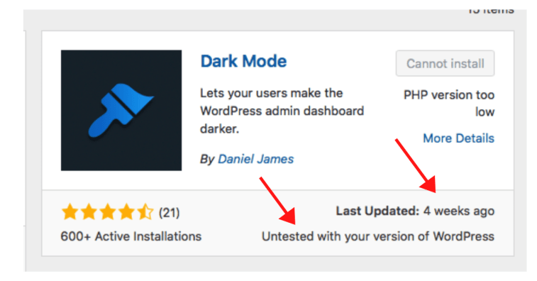 Plugins untested with current version of WordPress.