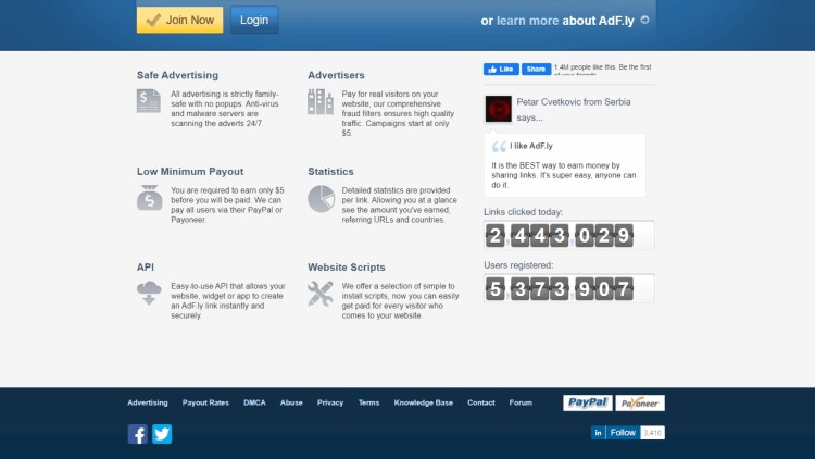 AdFly review: number of clicks.
