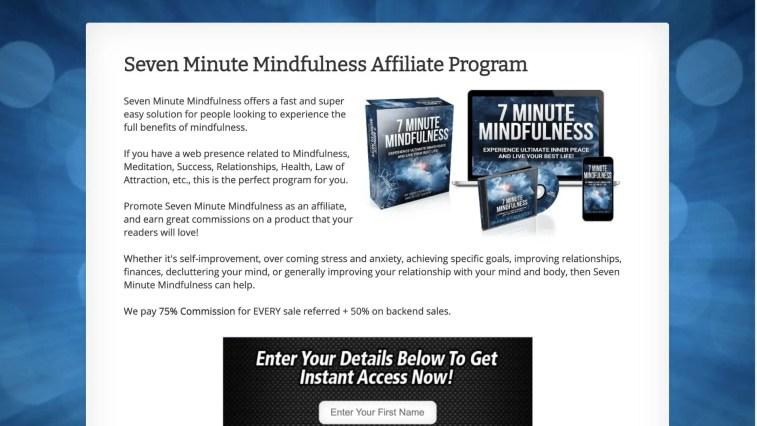 Bestest meditation affiliate: 7 Minute Mindfulness