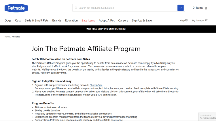 Petmate affiliate program for dogs
