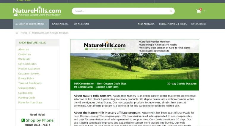 Best Gardening Affiliate Programs: Nature Hills Nursery