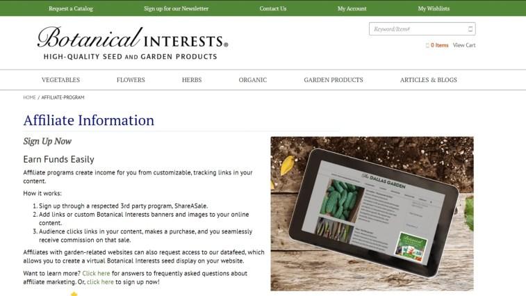Gardening Affiliate Programs: Botanical Interests