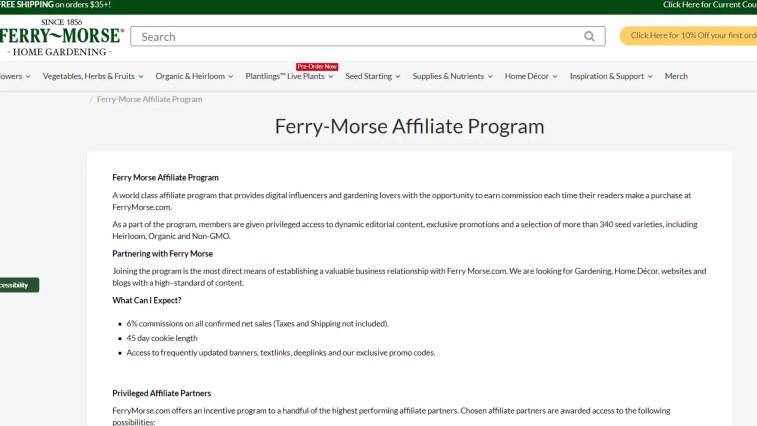 Ferry-Morse Affiliate Program for gardening