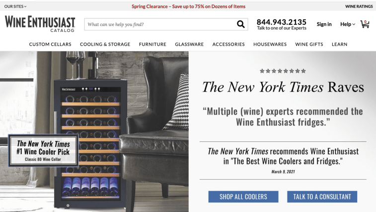 Best alcohol affiliate programs: Wine Enthusiast