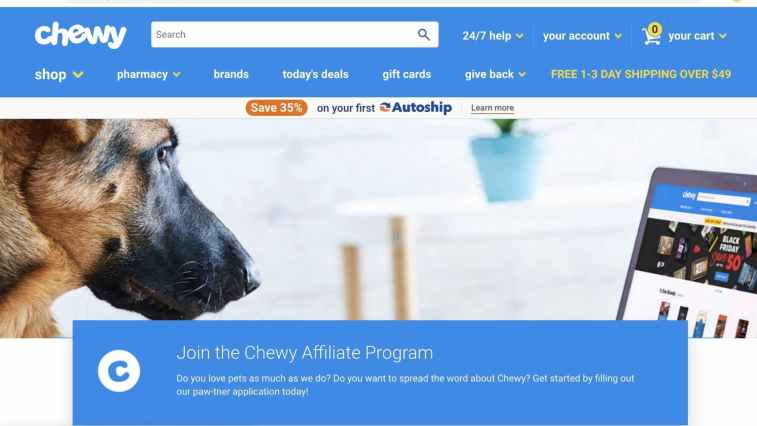 Affiliate program: Chewy for pets
