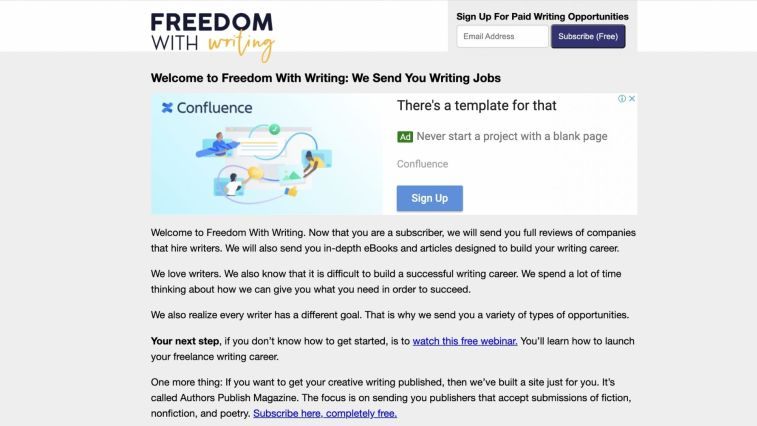 Freedom With Writing email signup successful