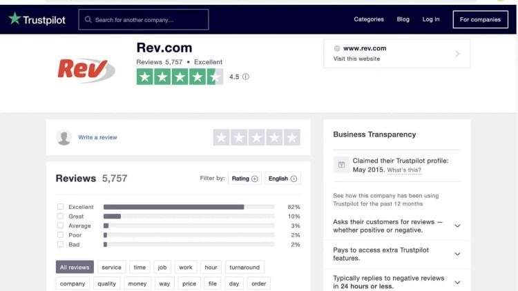 Rev.com reviews