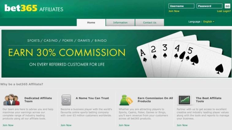 Affiliate program of a casino