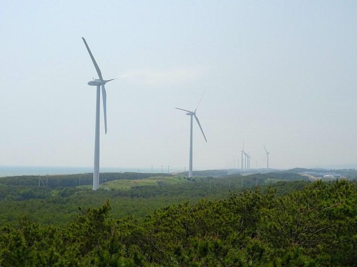 並ぶ風車は御前崎風力発電所