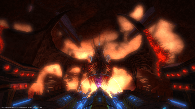 Image of the top-half of Bahamut suspended in the distance in a huge cavern space, together with machines of Allagan origins.