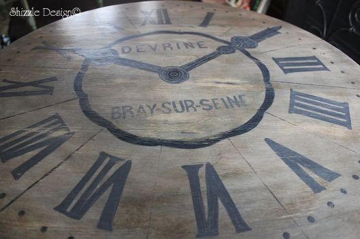 antique drum table with hand painted clock face Shizzle Design Michigan cece caldwell's smoky mountain vintage white aging dust dark wax top shot colors dimension