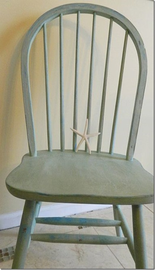 Alaskan Tundra Green layered over Blue Montana Sky on chair during our MSU Shizzle style chalk clay furniture CeCe Caldwell's Paint Class
