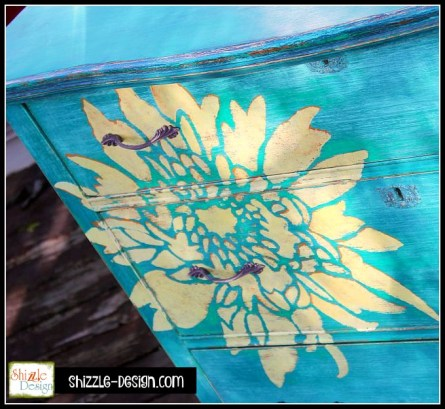 Painted furniture top hand painted dresser by Shizzle Design, American Paint Company, Chalk, Clay, paint, retailer, supplies, where to buy, Surfboard, Beach Glass, Frenchic, Furniture, teal