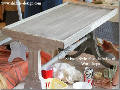 Shizzle Design Furniture Painting Workshop AFTER Byron Center, michigan CeCe Caldwell's Chalk Clay Paints ideas colors tables chair night stands tips learn how to 5 18 13 16