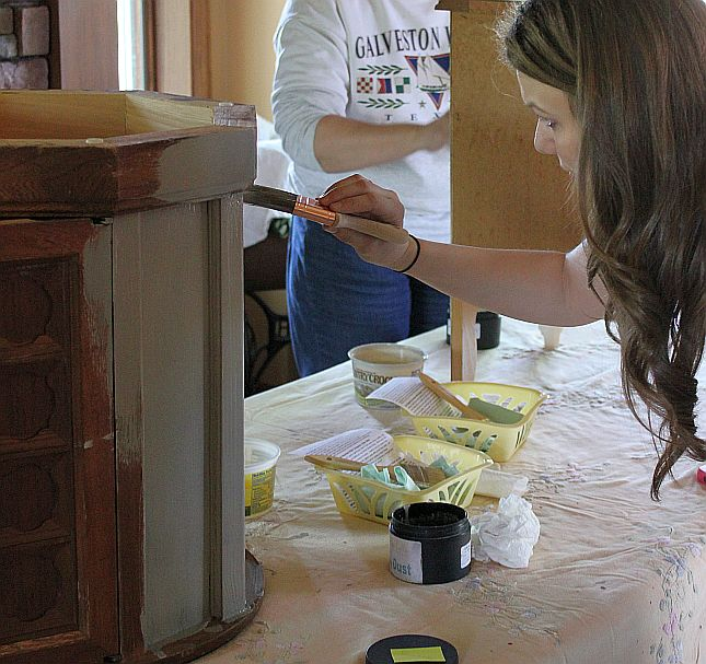 Shizzle Design Furniture Painting Workshop BEFORE Byron Center, michigan CeCe Caldwell's Chalk Clay Paints ideas colors tables chair night stands tips learn how to 5 18 13 9
