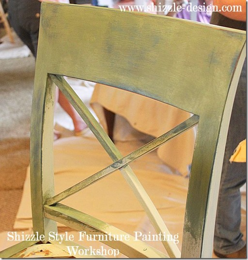 Shizzle Design Furniture Painting Workshop DURING Byron Center, michigan CeCe Caldwell's Chalk Clay Paints ideas colors tables chair night stands tips learn how to 5 18 13 8