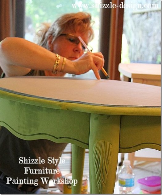 Shizzle Design Furniture Painting Workshop DURING Byron Center, michigan CeCe Caldwell's Chalk Clay Paints ideas colors tables chair night stands tips learn how to 5 18 13 6