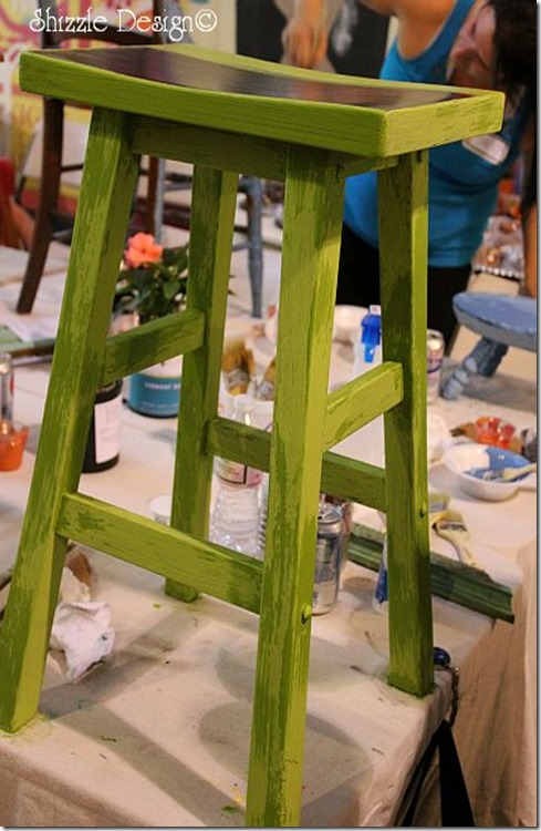 bar stool painted in cece caldwell's Spring Hill Green at the Paris Flea Market fundraiser  shizzle design