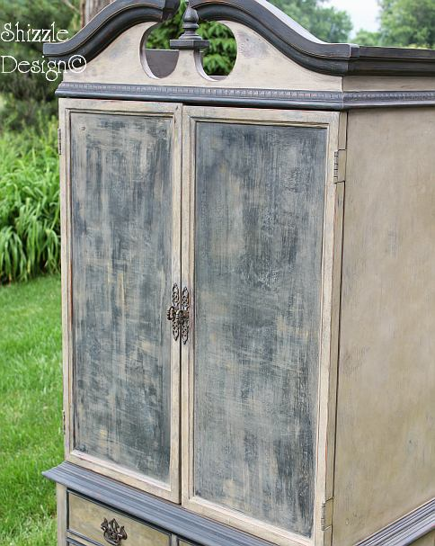 French Country Armoire Shizzle Design, ideas, gray, furniture, chalk, clay, American Paint Company, Michigan funky finish layered doors 21