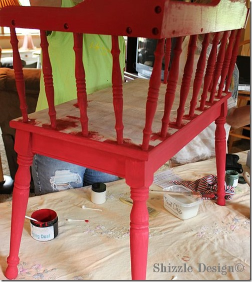 June 15 Red Gossip bench painted at a Shizzle Style Furnitiure #Workshop in #AmericanPaintCompany's Firework's Red Grand Rapids, Michigan