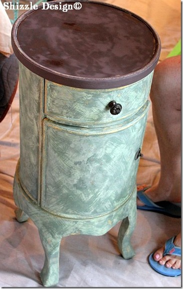 June 15 cylindrical table painted during a Shizzle Style paint workshop using CeCe Caldwell's Kentucky Mint, Michigan Pine, Virginia Chestnut