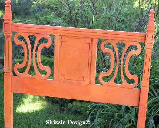 Two twin beds painted by Shizzle Design in West Michigan American Paint Company's Coral Reef and Orange Grove chalk clay mineral paint 2