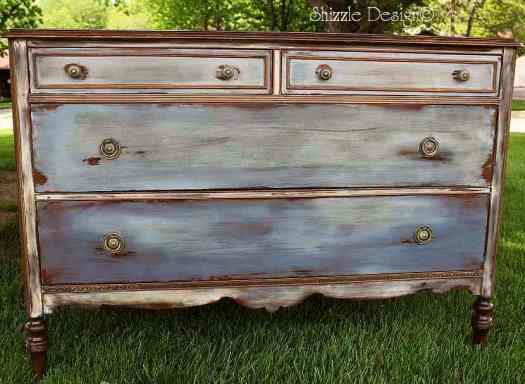 antique dresser hand painted waxed Shizzle Design CeCe Caldwell's Chesapeake Blue, Aging Dust, Dover White, vintage Michigan chalk clay paint best furniture