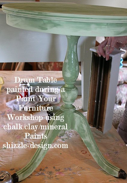 July 9 Shizzle Style Paint Workshop Byron Center michigan before drum table how to chalk clay #paintedfurniture #shizzledesign ideas #cececaldwell Kentucky Mint